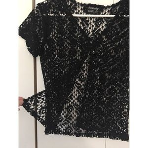 Anxiety Cafe lace crochet cardigan crop top